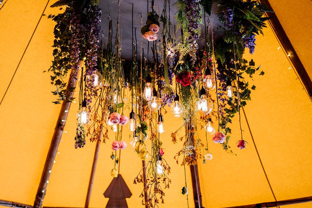 Flowers Floral Edison Light Bulb Hanging Installation Colourful Tipi Garden Wedding Fairclough Studios