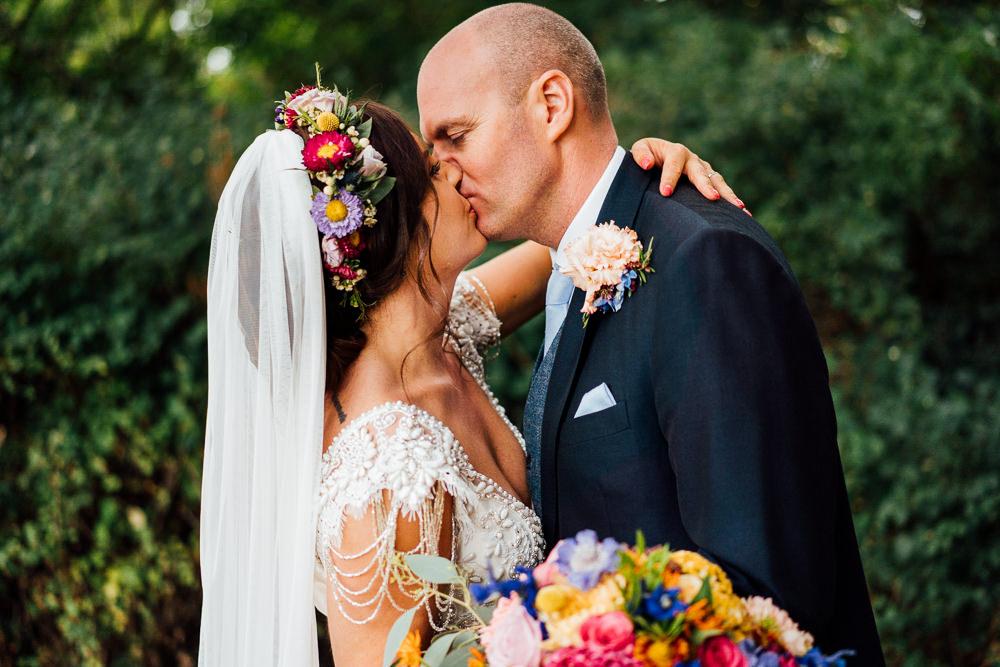 Bride Bridal Embellished Shoulder Beaded Dress Gown Veil Floral Flower Crown Blue Three Piece Suit Groom Bouquet Colourful Tipi Garden Wedding Fairclough Studios