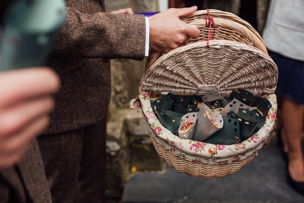 Confetti Basket Druidstone Wedding Florence Fox Photography
