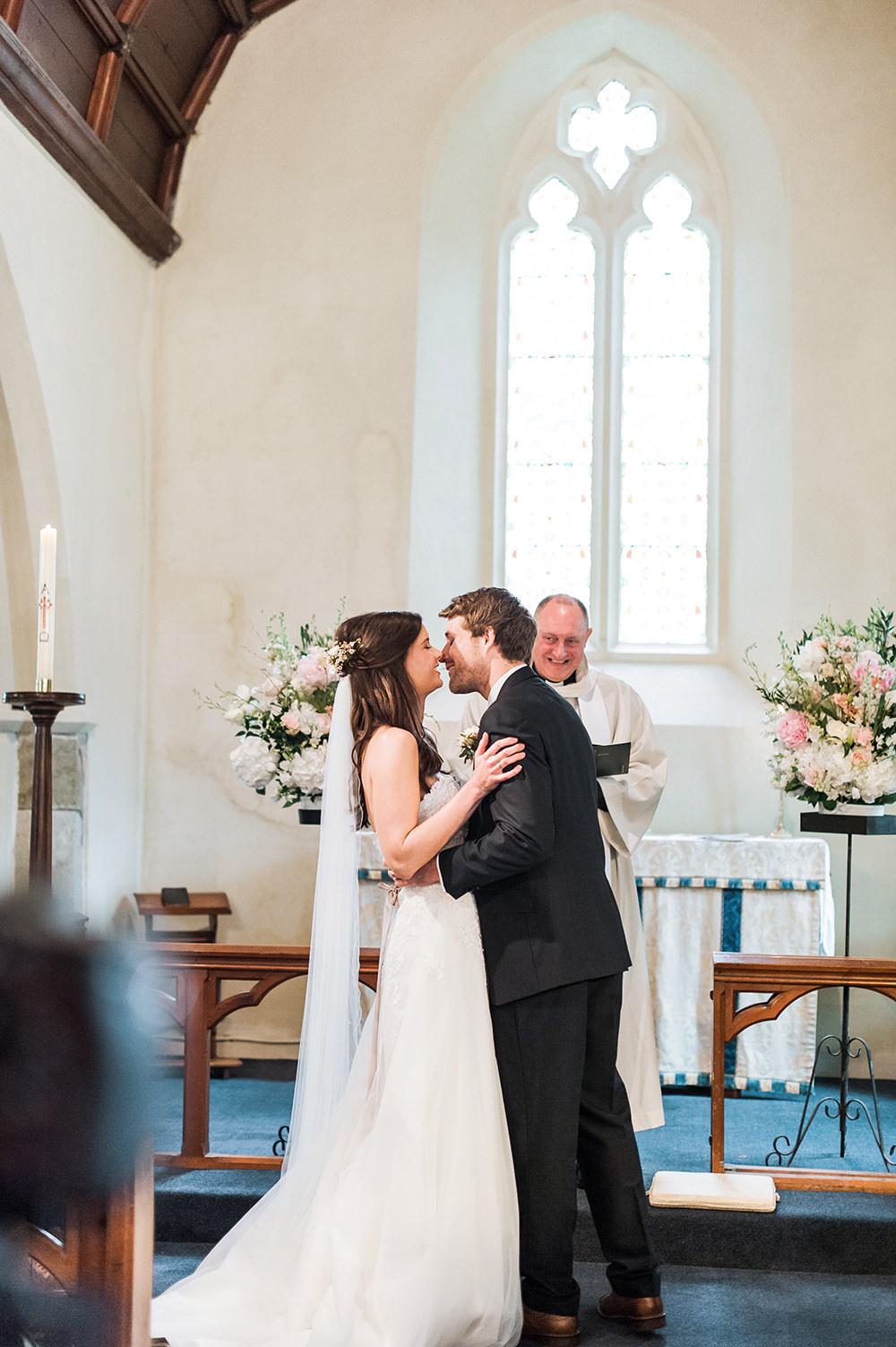 Bride Bridal Gown Dress Strapless Sweetheart Neckline Ribbon Belt Pink Blue Suit Groom Veil Edmondsham House Wedding Darima Frampton Photography