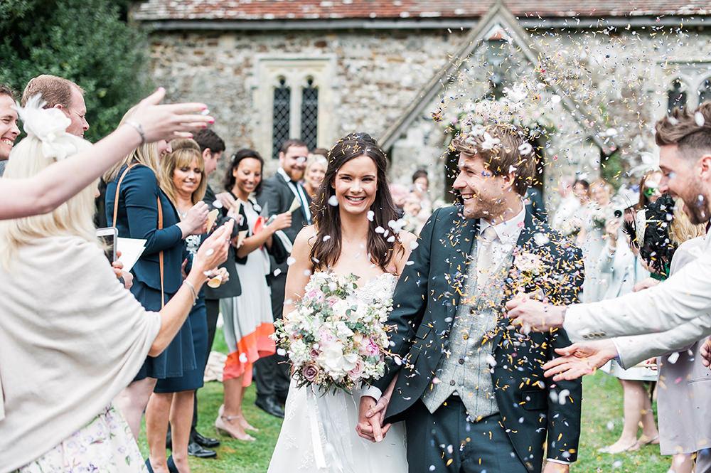 Bride Bridal Gown Dress Strapless Sweetheart Neckline Ribbon Belt Pink Blue Suit Groom Confetti Edmondsham House Wedding Darima Frampton Photography