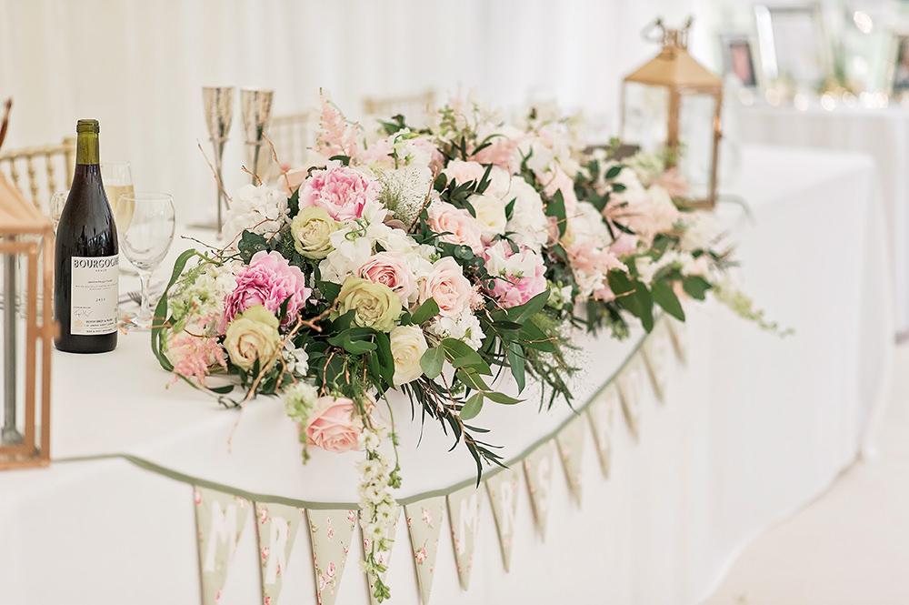 Top Table Pink Rose White Centrepiece Top Table Runner Edmondsham House Wedding Darima Frampton Photography