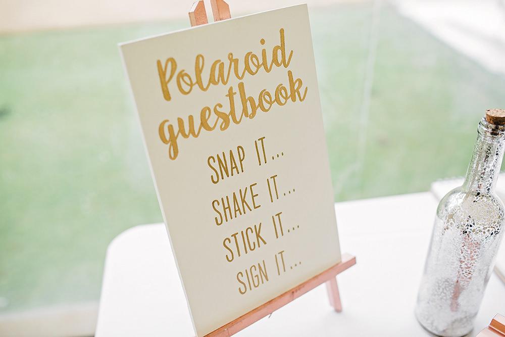 Polaroid Guest Book Sign Easel Edmondsham House Wedding Darima Frampton Photography