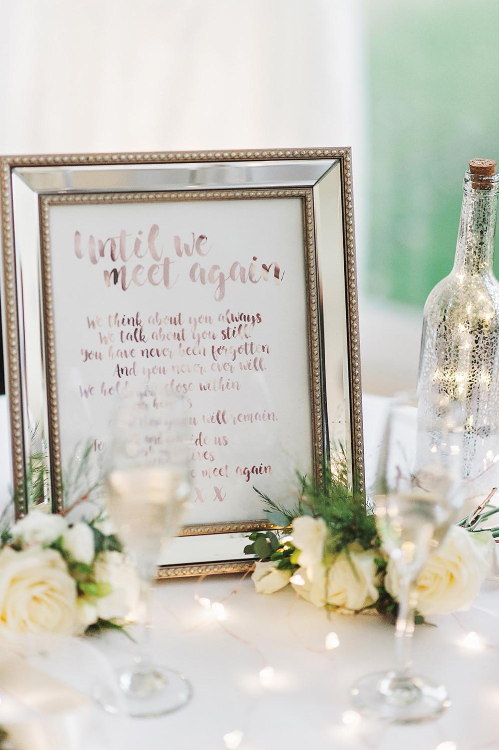 Memory Table Until We Meet Again Frame Edmondsham House Wedding Darima Frampton Photography