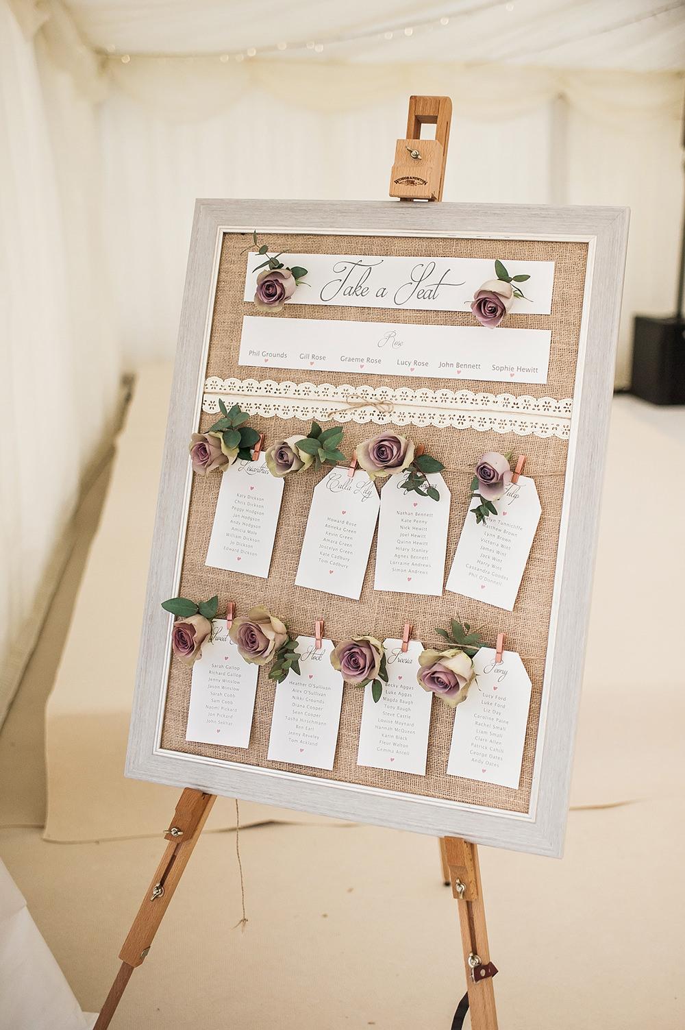 Table Plan Burlap Hessian Rose Tag Easel Edmondsham House Wedding Darima Frampton Photography