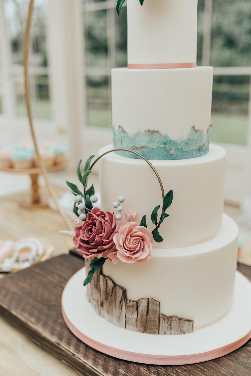 Cake Wreath Floral Flowers Wood Brush Stokes Hoop Wedding Ideas Rebecca Carpenter Photography
