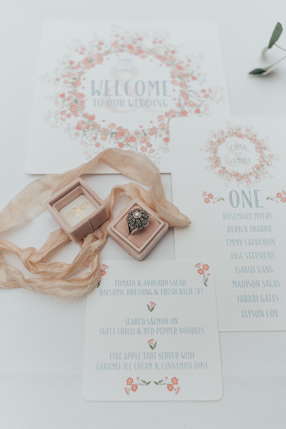 Stationery Invites Invitations Flat Lay Ribbon Flowers Floral Envelope Velvet Ring Box Hoop Wedding Ideas Rebecca Carpenter Photography