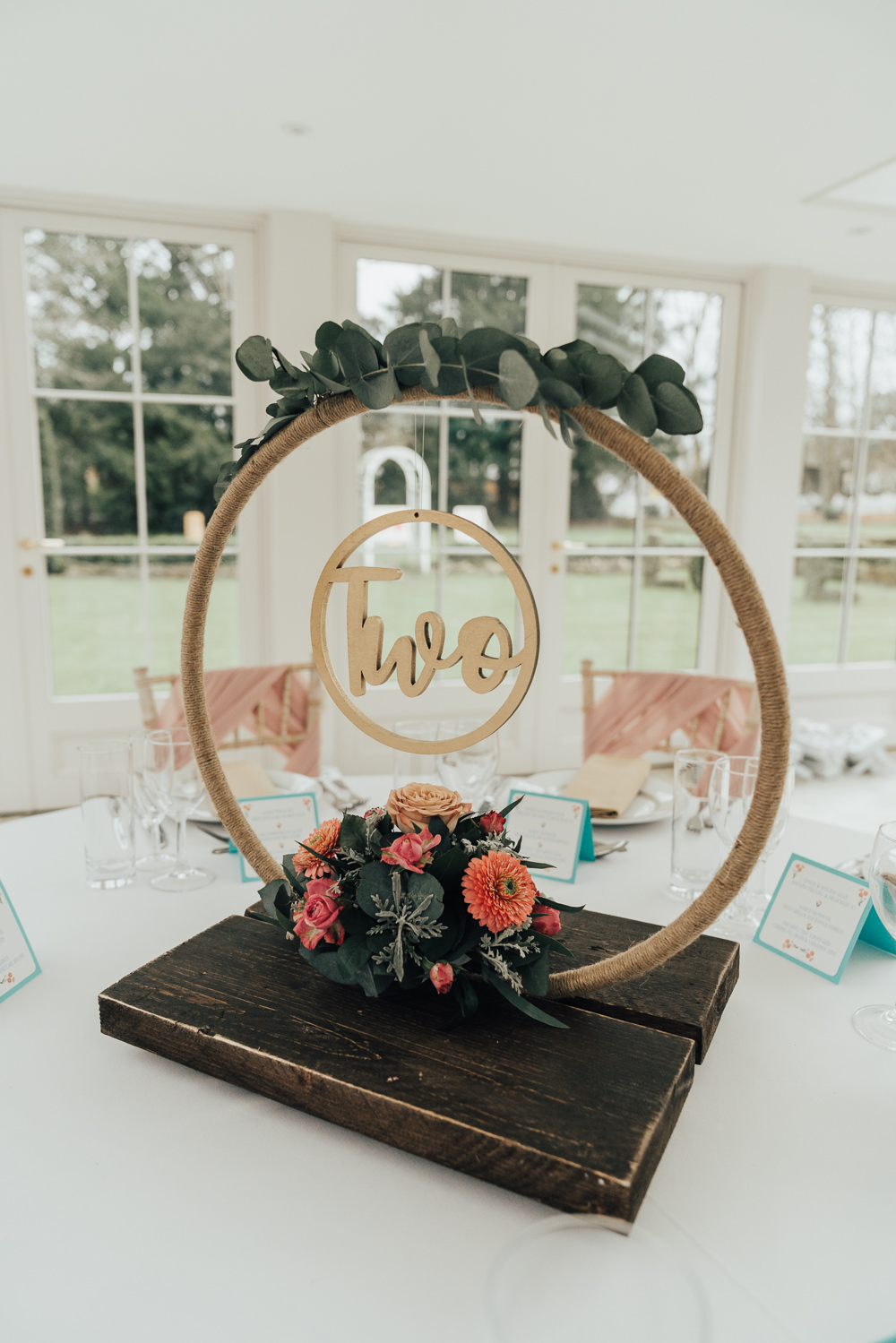 Table Number Name Decor Floral Hoop Wedding Ideas Rebecca Carpenter Photography
