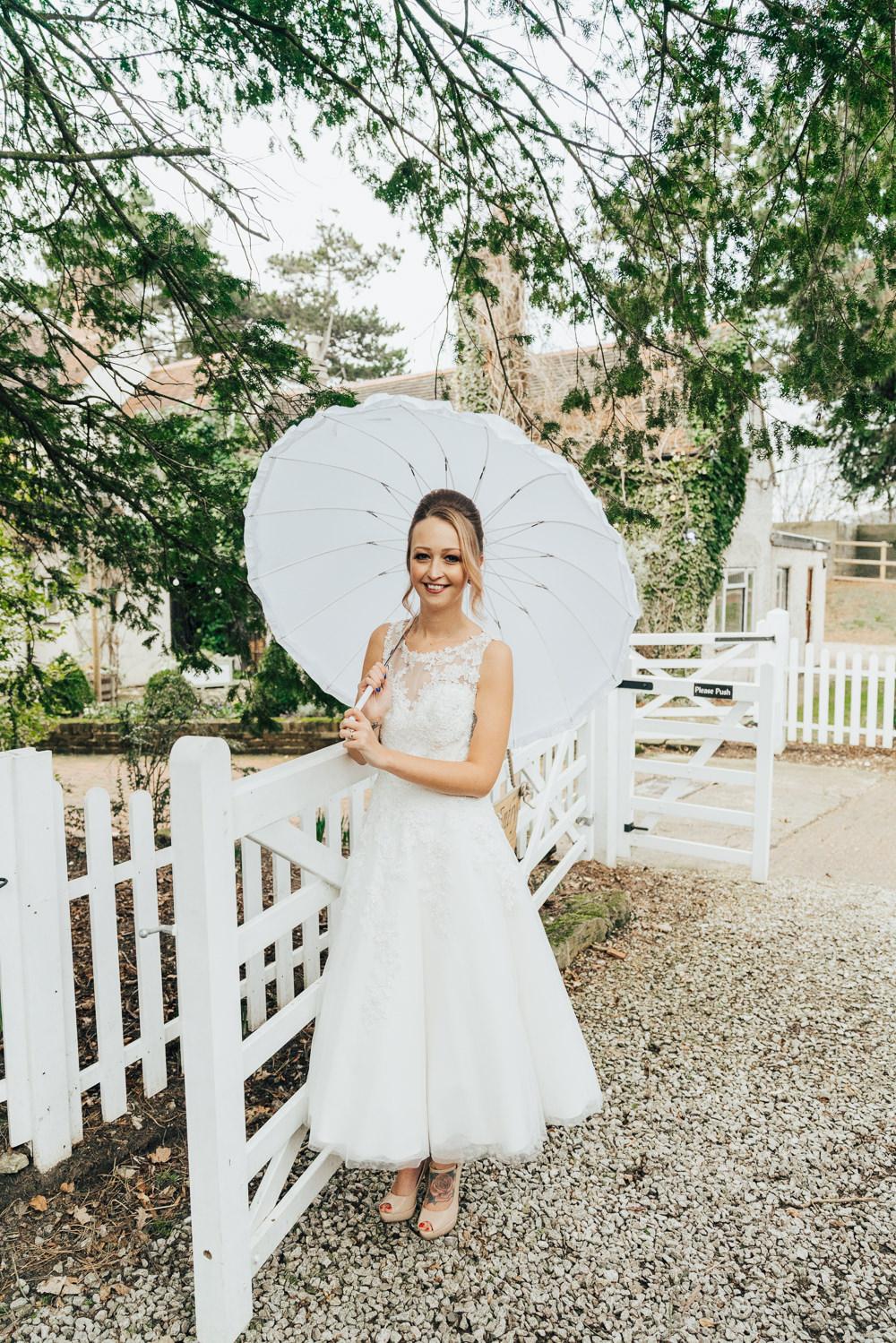 Short Dress Bride Bridal Tea Length Gown Parasol Umbrella Hoop Wedding Ideas Rebecca Carpenter Photography
