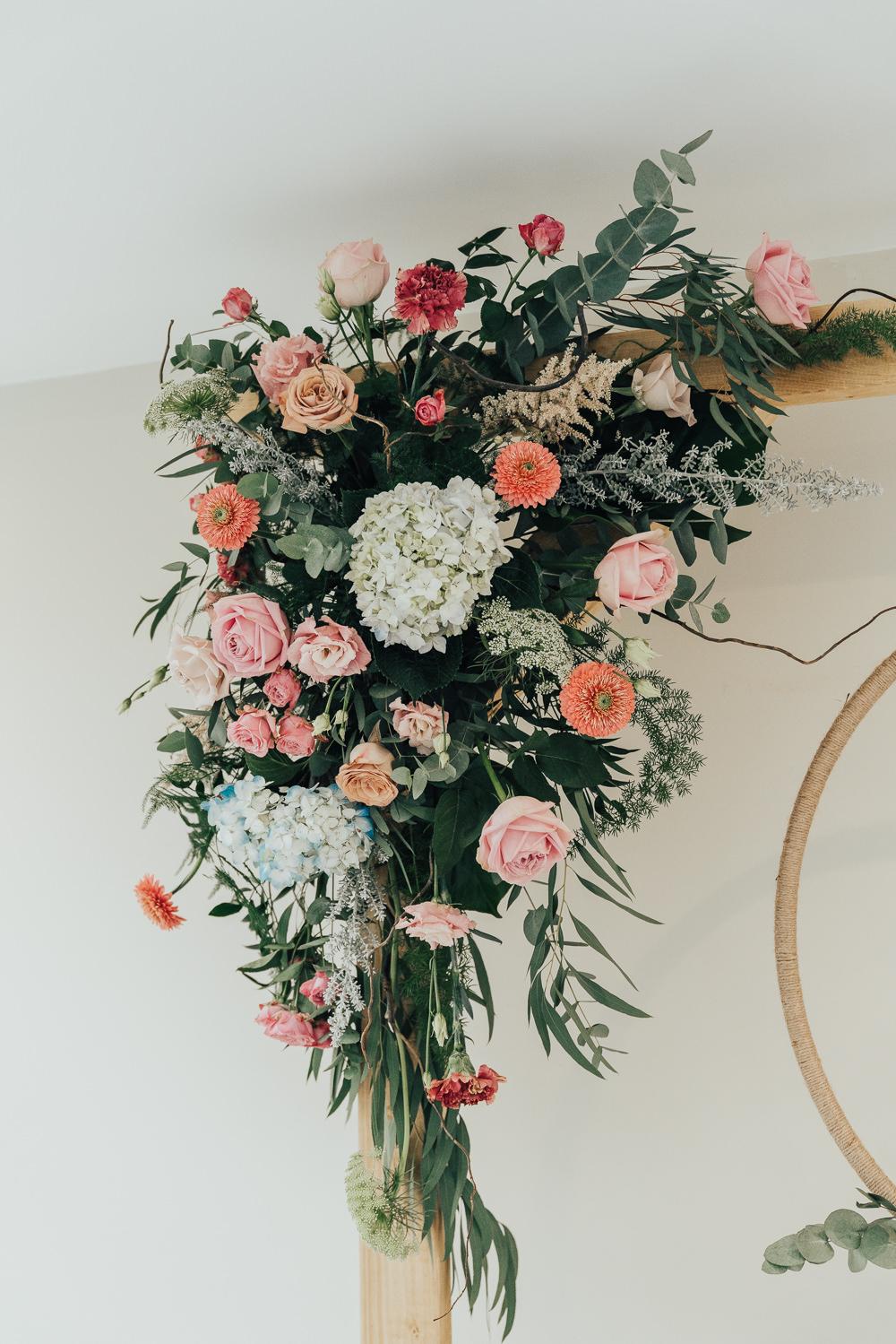 Flowers Floral Arch Backdrop Greenery Foliage Orange Pink Hoop Wedding Ideas Rebecca Carpenter Photography