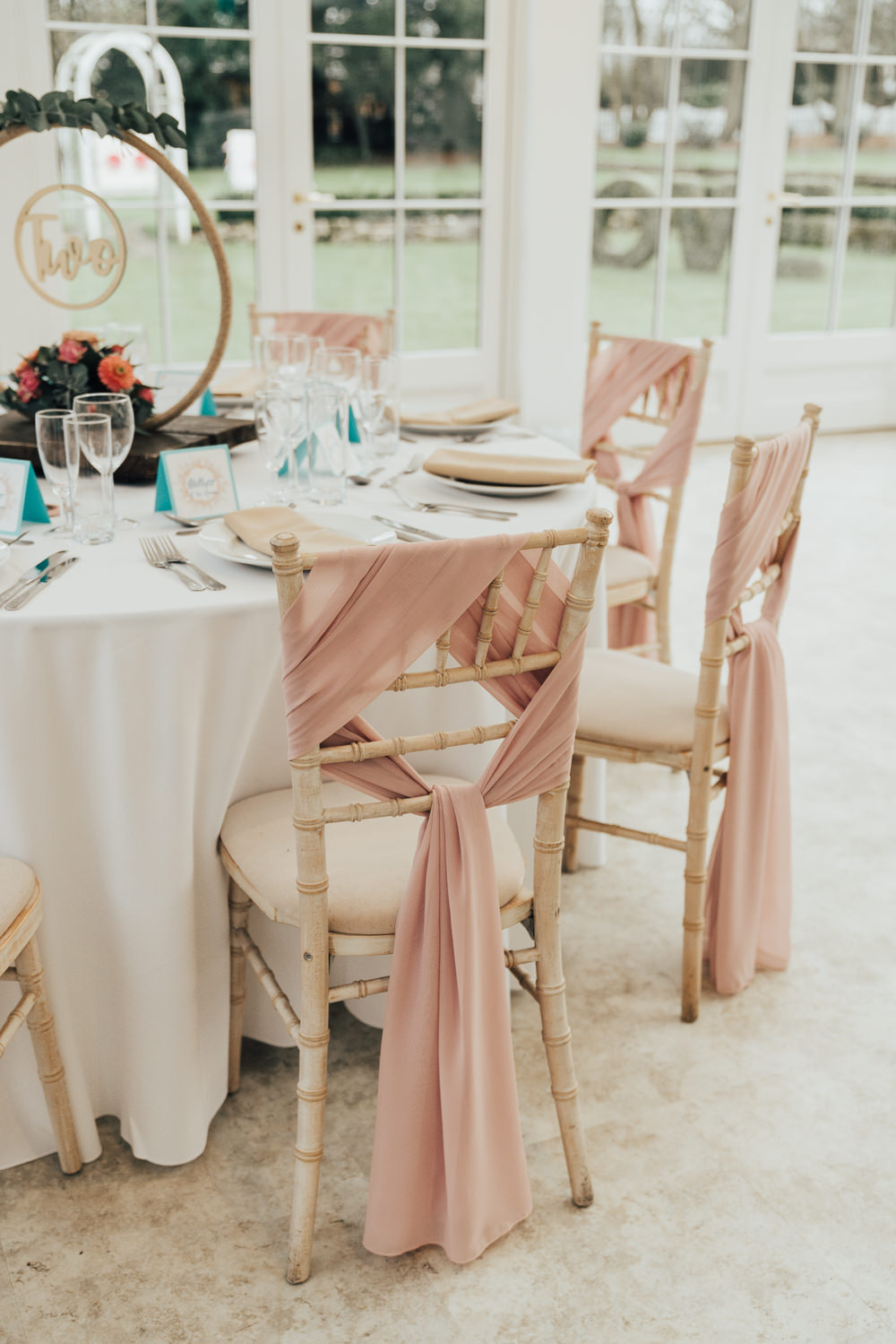 Round Table Tablescape Decor Fabric Chair Covers Sash Hoop Wedding Ideas Rebecca Carpenter Photography
