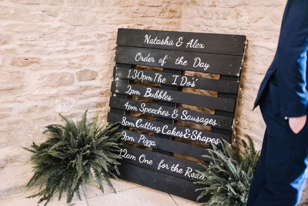 Black Chalk Board Wooden Pallet Sign Signage Timings Kingscote Barn Wedding Oobaloos Photography