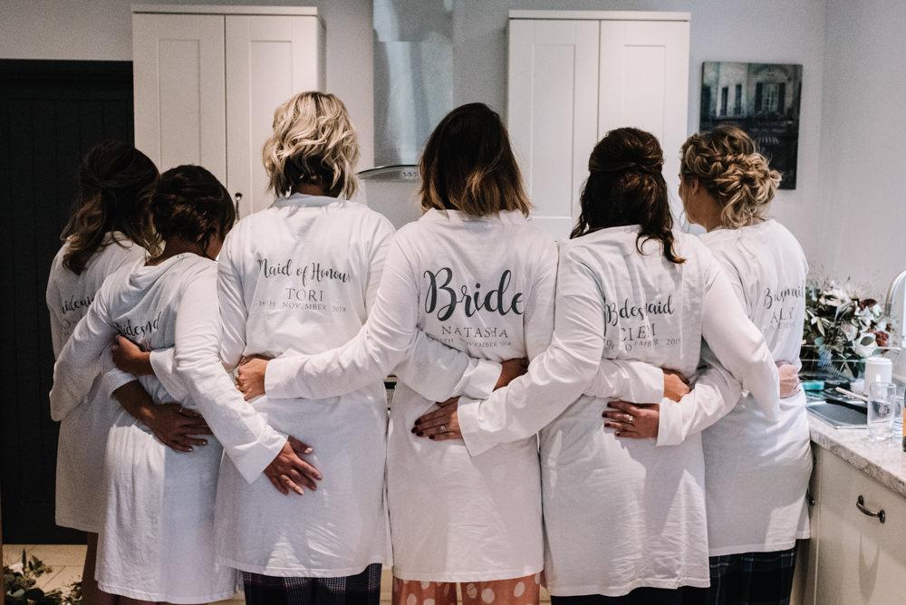 Bride Bridal Bridesmaid Robes Dressing Gowns Kingscote Barn Wedding Oobaloos Photography
