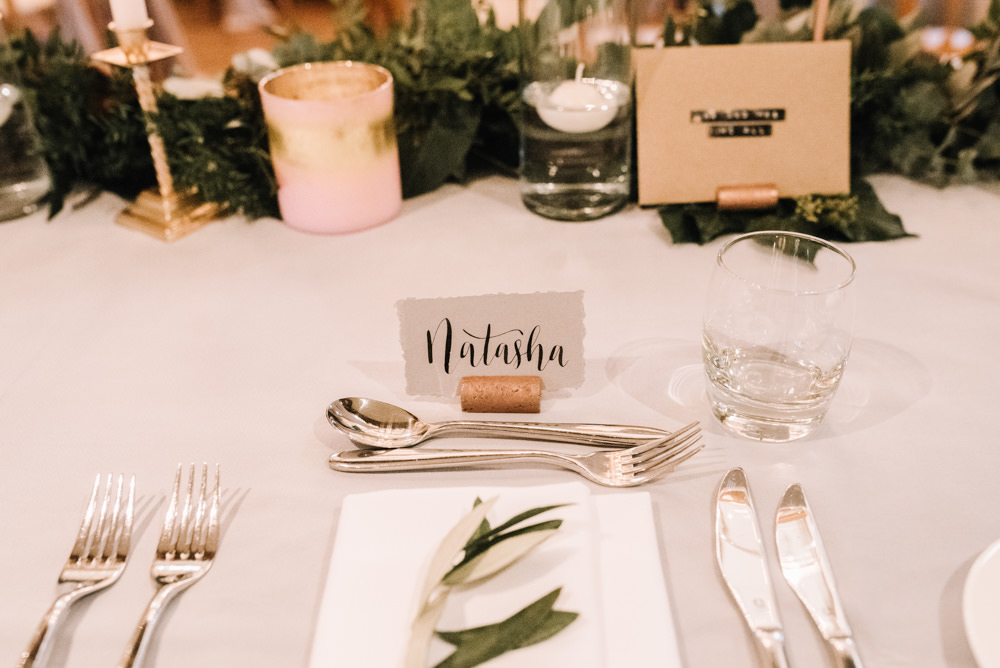 Mulberry Grey Copper Foliage Calligraphy Name CardPlace Setting Table Decor Kingscote Barn Wedding Oobaloos Photography