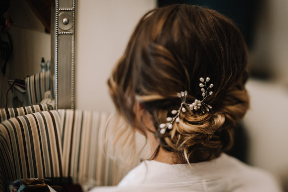 Bride Bridal Hair Style Up Do Kingscote Barn Wedding Oobaloos Photography