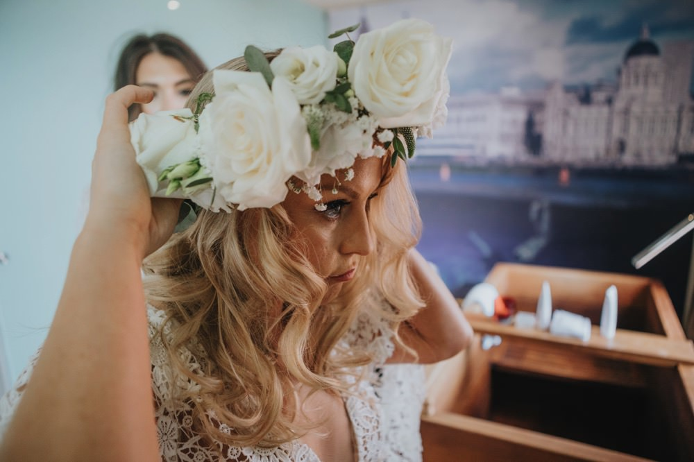 Bride Bridal Flower Crown Rose Sefton Park Wedding Bloom Weddings