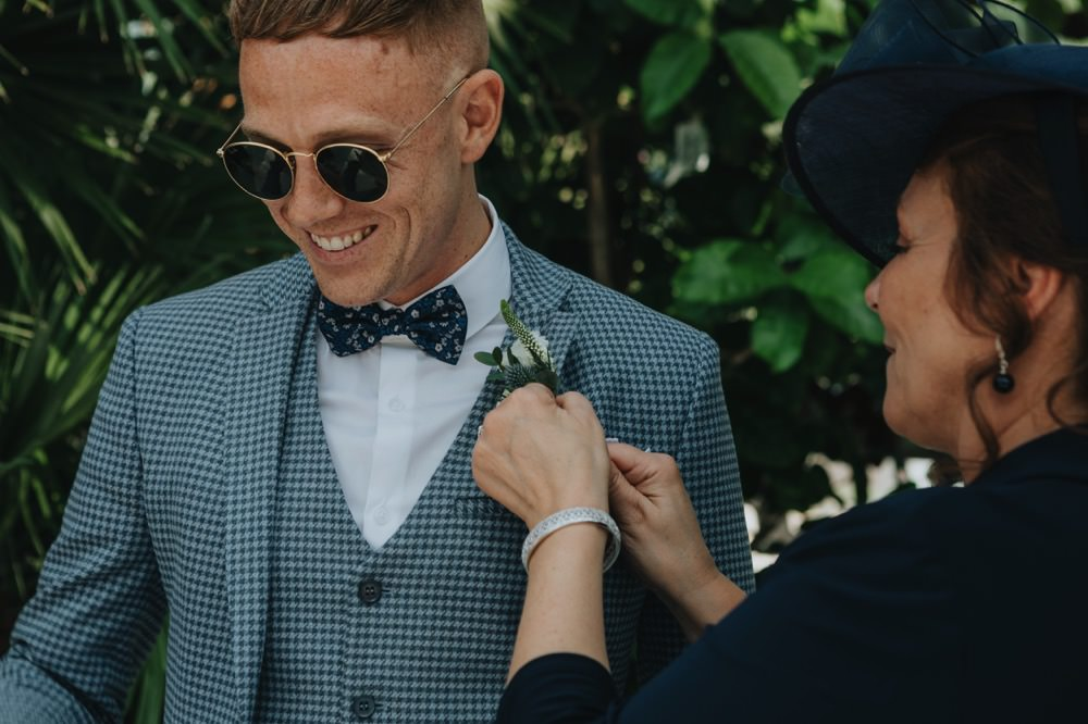 Groom Suit Blue Bow Tie Sunglasses Sefton Park Wedding Bloom Weddings