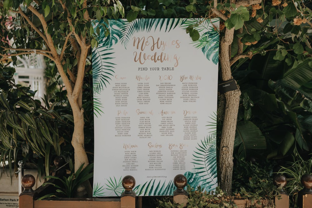 Topical Palm Botanical Seating Plan Table Chart Sefton Park Wedding Bloom Weddings