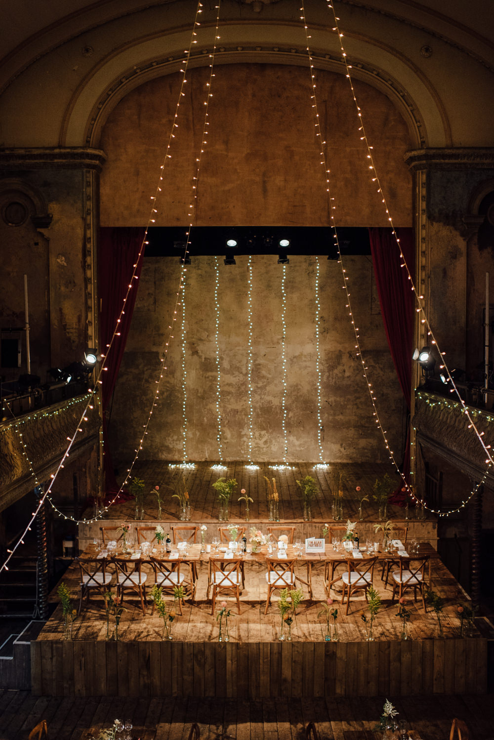 Long Tables Fairy Lights Decor Rustic Wooden Trestle Flowers Bottles Origami Cranes Wilton's Music Hall Wedding The Shannons Photography