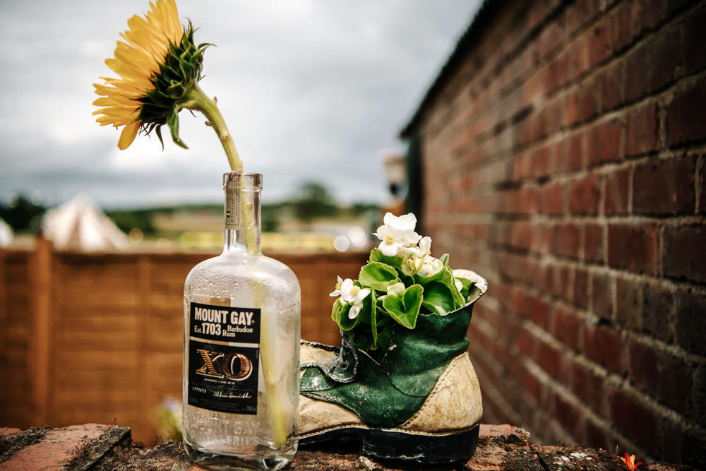 Bottle Sunflower Decoration Stanford Farm Wedding Andy Griffiths Photography