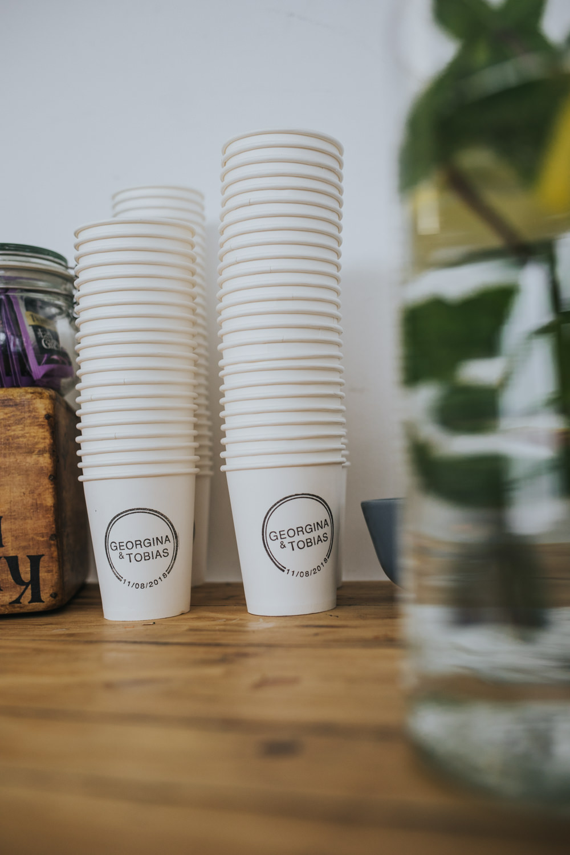 Personalised Paper Cups Wimborne House Wedding Eva Photography