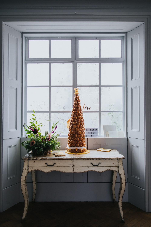 Croquembouche Cake Tower Table Wimborne House Wedding Eva Photography
