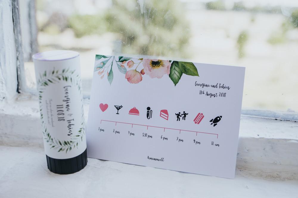 Timeline Timings Stationery Floral Wimborne House Wedding Eva Photography
