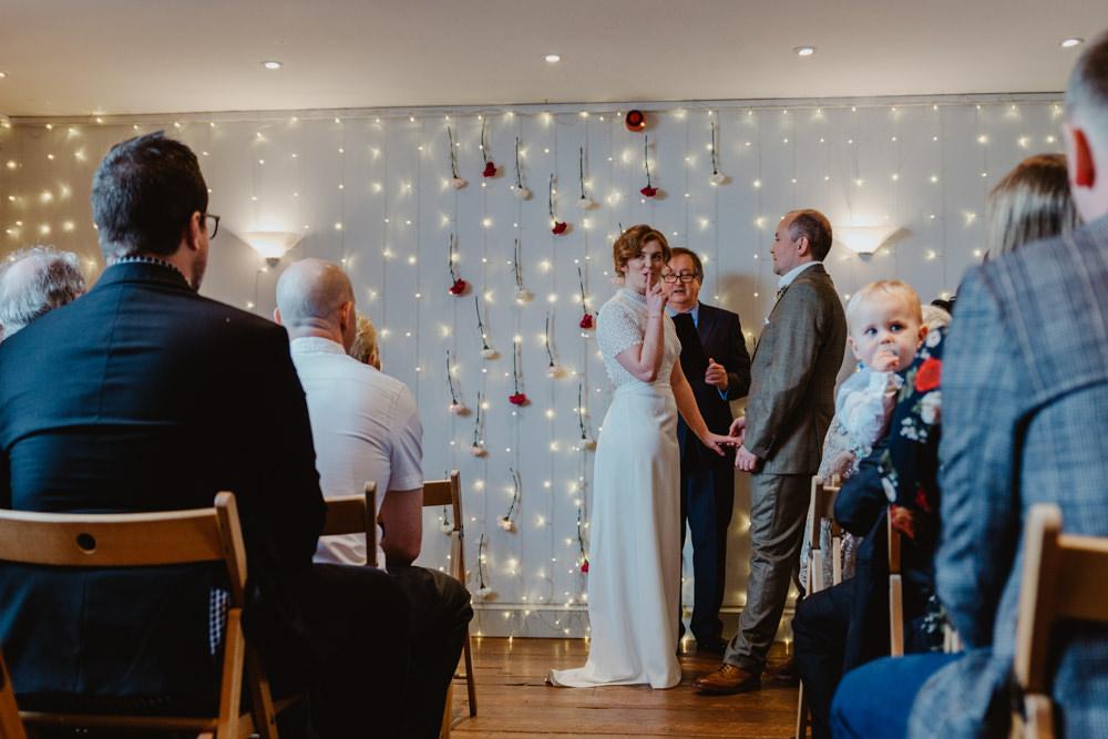 Fairy Light Curtain Backdrop Ceremony Aisle Chilli Barn Wedding Stevie Jay Photography