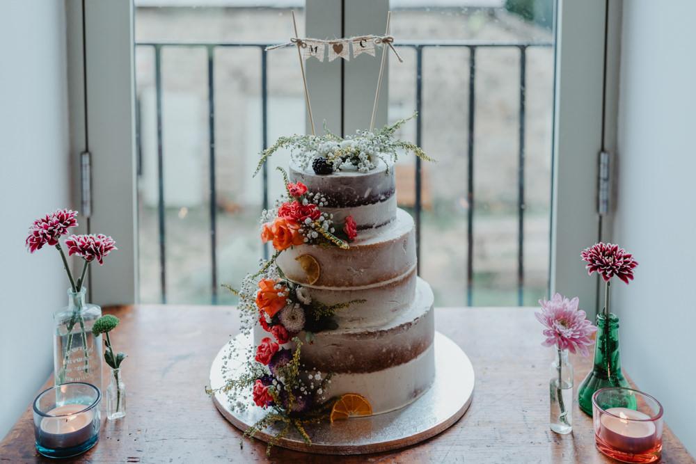 Semi Naked Cake Flowers Floral Chilli Barn Wedding Stevie Jay Photography