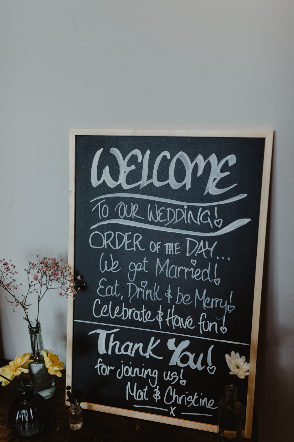 Chalk Black Board Welcome Sign Signage Signs Chilli Barn Wedding Stevie Jay Photography
