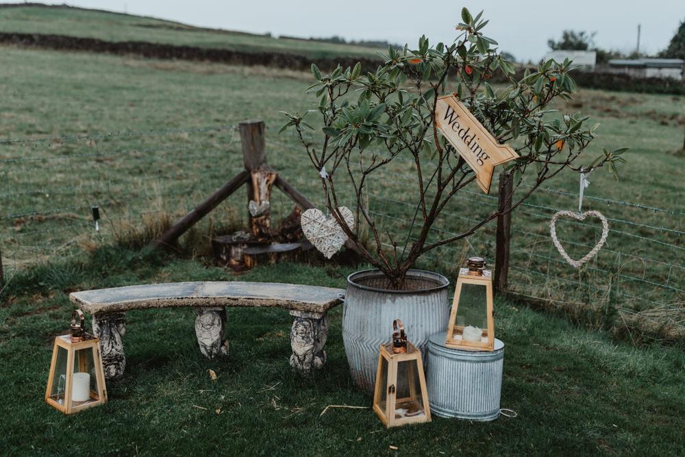Decor Outside Lanterns Signs Chilli Barn Wedding Stevie Jay Photography