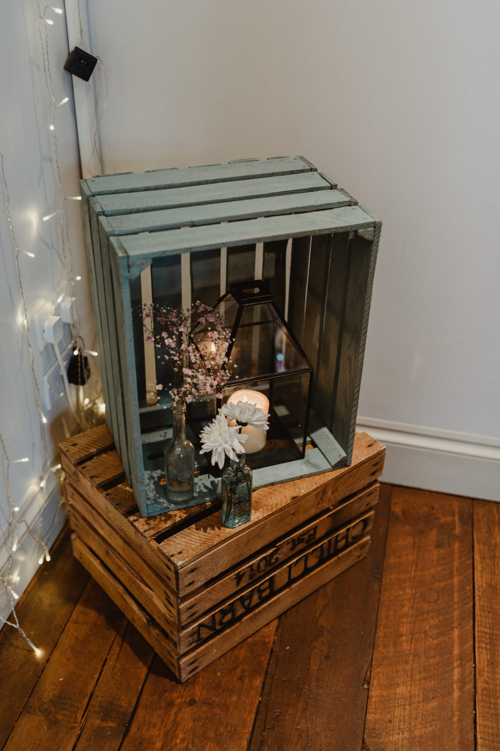Wooden Crate Decor Candles Flowers Chilli Barn Wedding Stevie Jay Photography