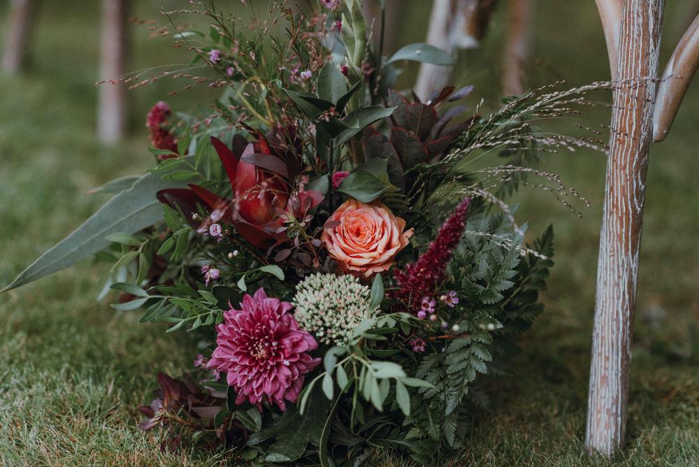 Aisle Decor Floral Arrangement Pink Burgundy Greenery Felin Newydd House Wedding Christopherian.co.uk