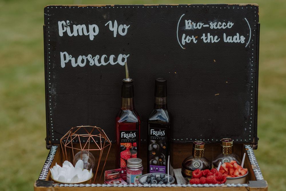 Pimp Your Prosecco Desk School Bro-secco Felin Newydd House Wedding Christopherian.co.uk