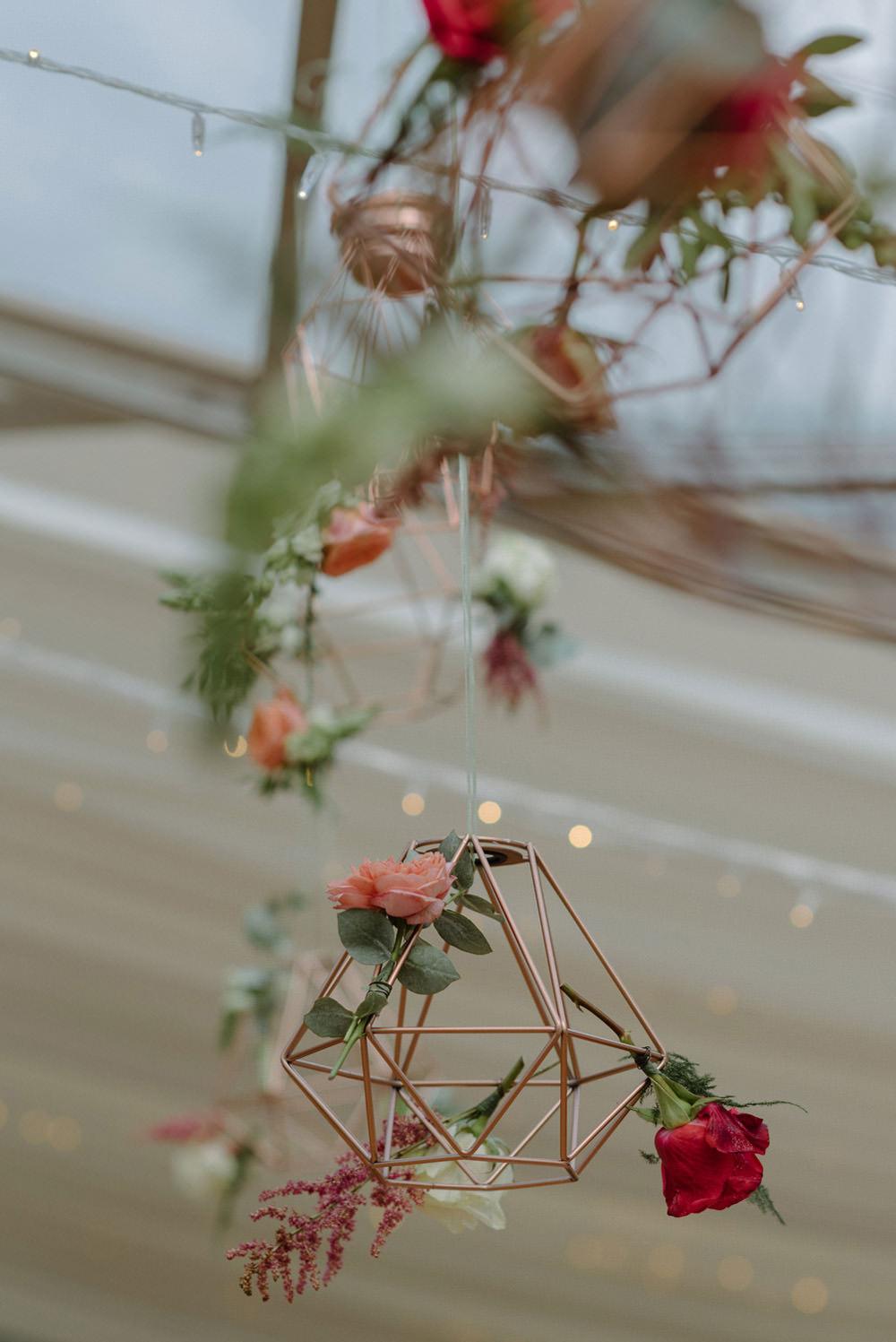 Geometric Hanging Floral Felin Newydd House Wedding Christopherian.co.uk