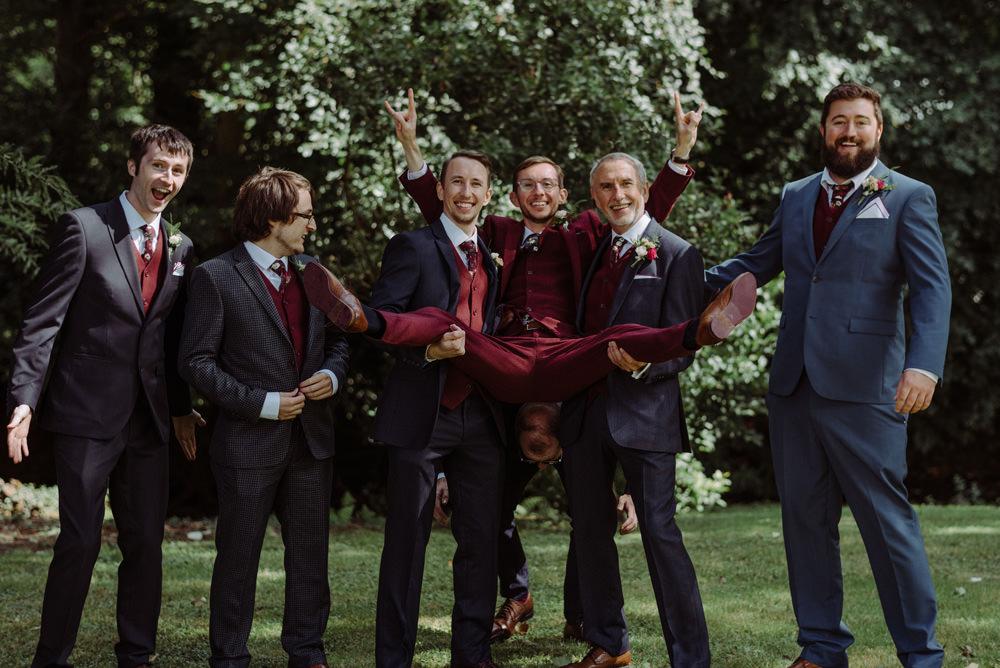 Burgundy Three Piece Suit Red Wine Groom Ushers Groomsmen Felin Newydd House Wedding Christopherian.co.uk