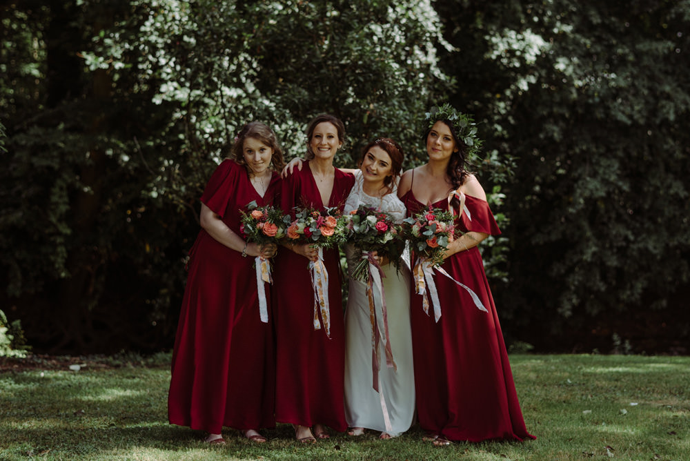 Bride Bridal Short Cap Sleeve Slip Dress Laure de Sagazan Dress Gown Red Wine Burgundy Bridesmaids Felin Newydd House Wedding Christopherian.co.uk