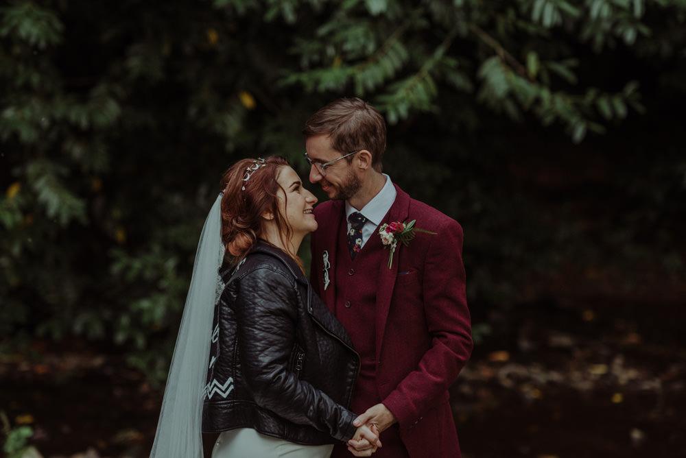 Leather Jacket Bride Veil Wine Burgundy Three Piece Suit Groom Felin Newydd House Wedding Christopherian.co.uk