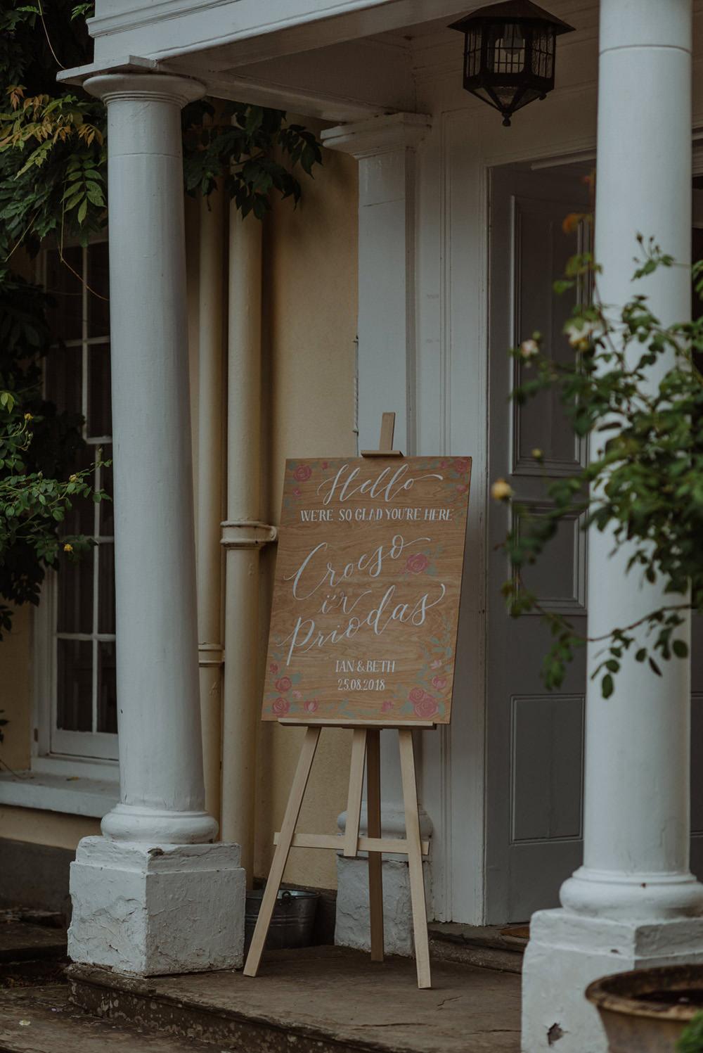 Welcome Wooden Sign Calligraphy Easel Felin Newydd House Wedding Christopherian.co.uk