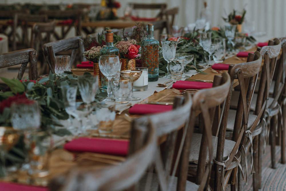 Banqueting Table Red Napkin Greenery Foliage Crystal Glasses Felin Newydd House Wedding Christopherian.co.uk