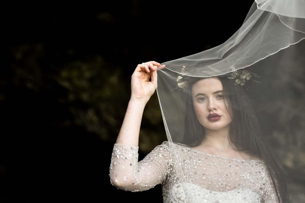Dress Gown Bride Bridal Eliza Jane Howell Celestial Stars Starry Veil Flower Crown Game Of Thrones Wedding Tara Florence