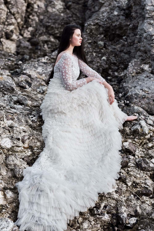 Dress Gown Bride Bridal Eliza Jane Howell Ruffle Belt Sleeves Train Game Of Thrones Wedding Tara Florence