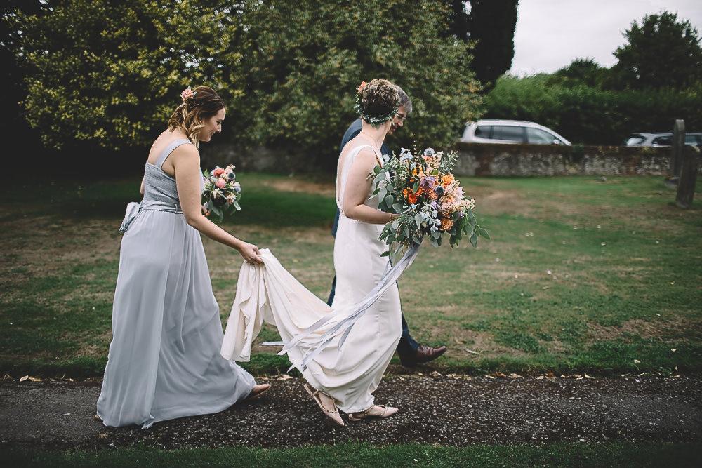 Bride Bridal Dress Gown Alan Hannah Dinah Crepe Belt Train Gilbert Whites House Barn Wedding Carrie Lavers Photography