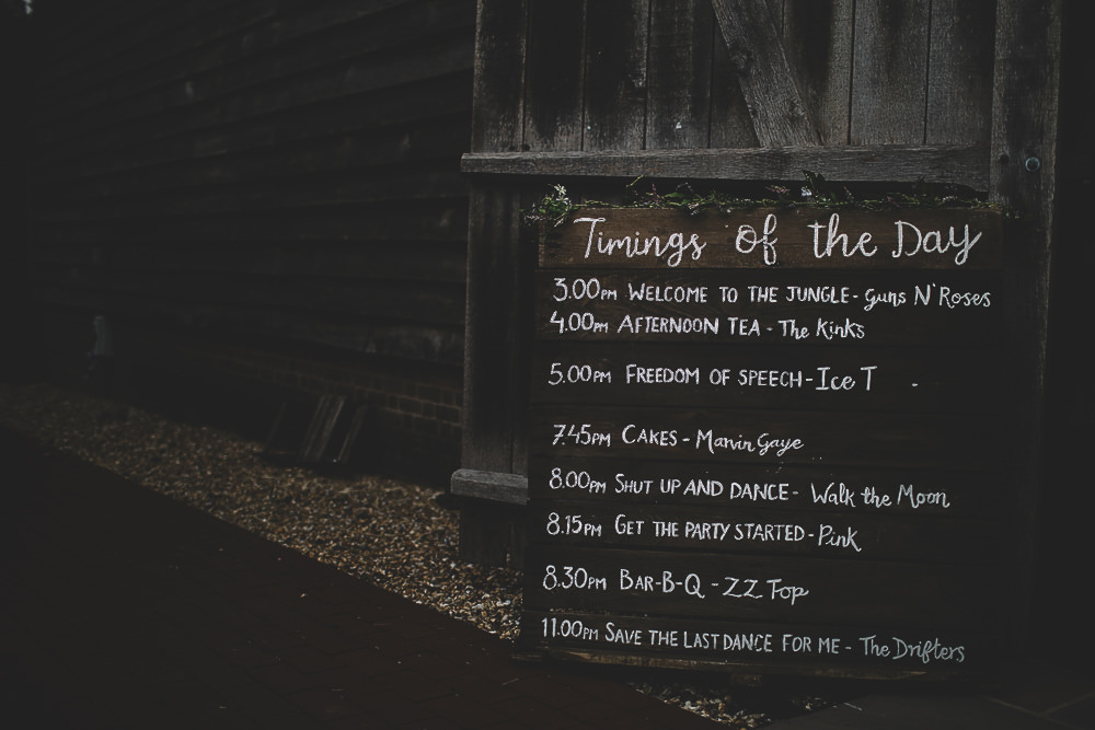 Wooden Rustic Sign Timings Signage Gilbert Whites House Barn Wedding Carrie Lavers Photography