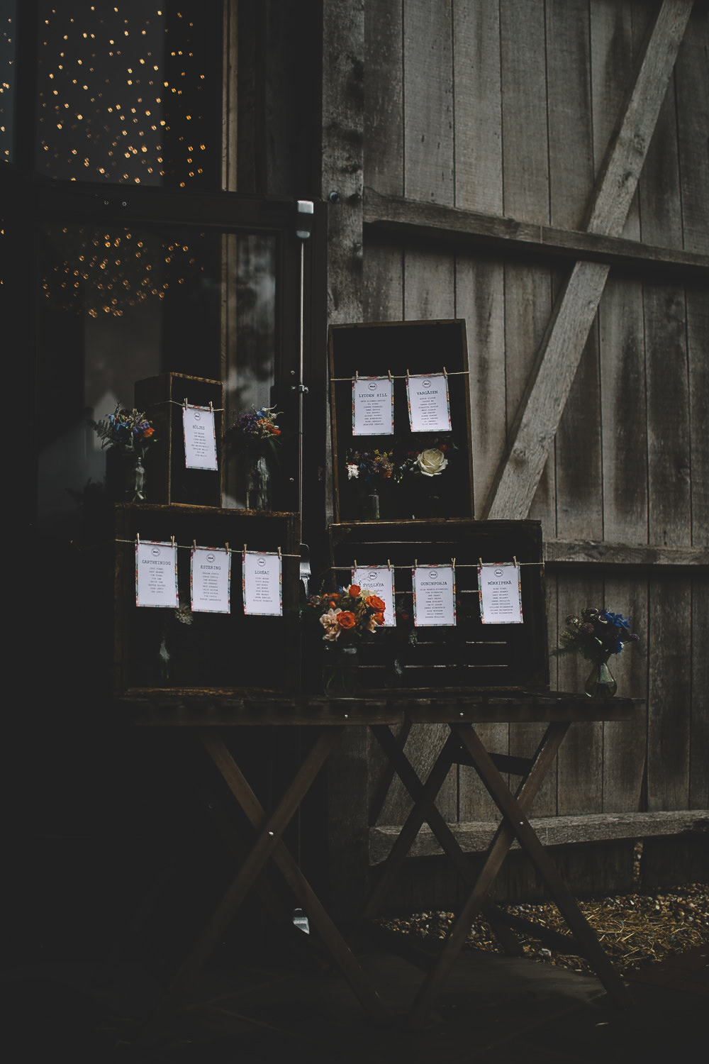 Wooden Crate Seating Plan Table Chart Boxes Twine Flowers Floral Gilbert Whites House Barn Wedding Carrie Lavers Photography