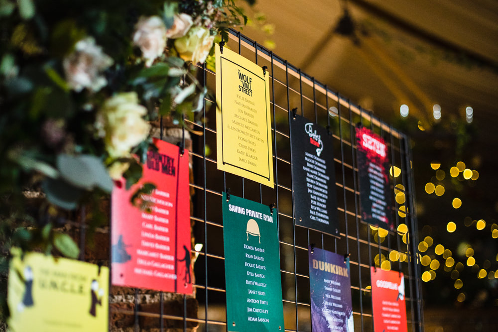 Table Plan Wire Mesh Film Seating Chart Colourful Hornington Manor Wedding Chris Barber Photography