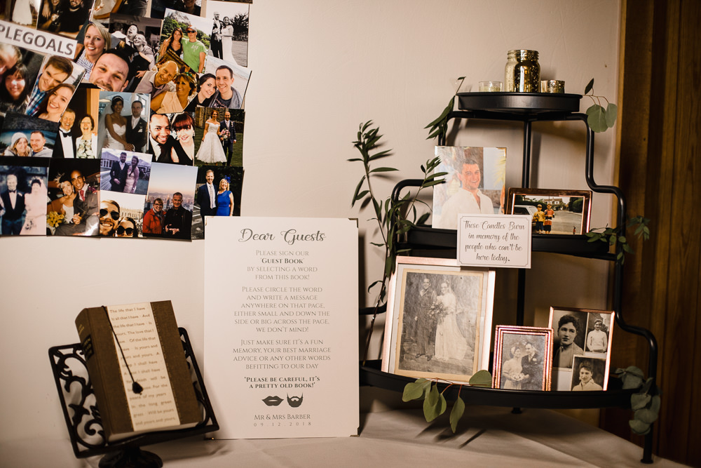 Guest Book Table Family Photo Hornington Manor Wedding Chris Barber Photography