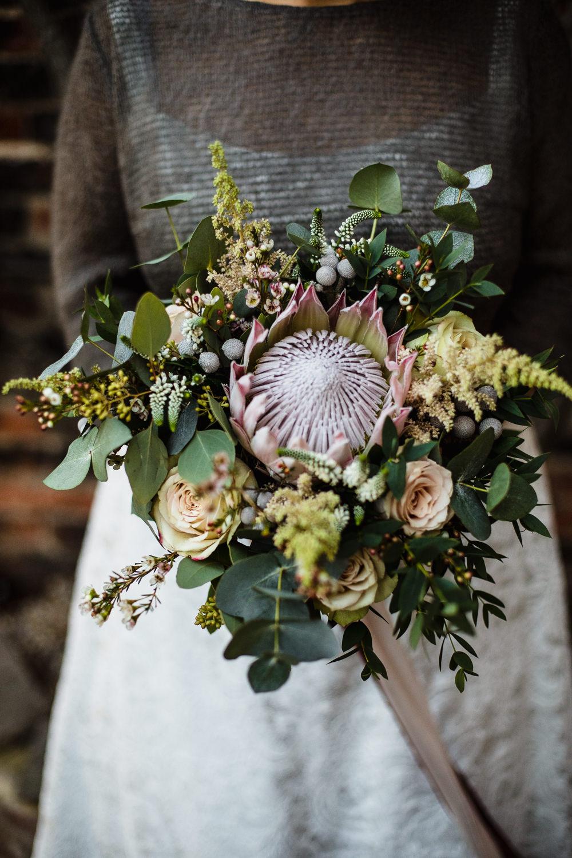 Bride Bridal Bouquet Greenery Rose King Protea Hornington Manor Wedding Chris Barber Photography