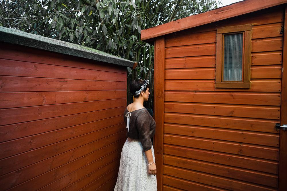 Bride Bridal Tea Length Short Skirt Jumper Leaf Headpiece Ribbon Tie Back Hornington Manor Wedding Chris Barber Photography