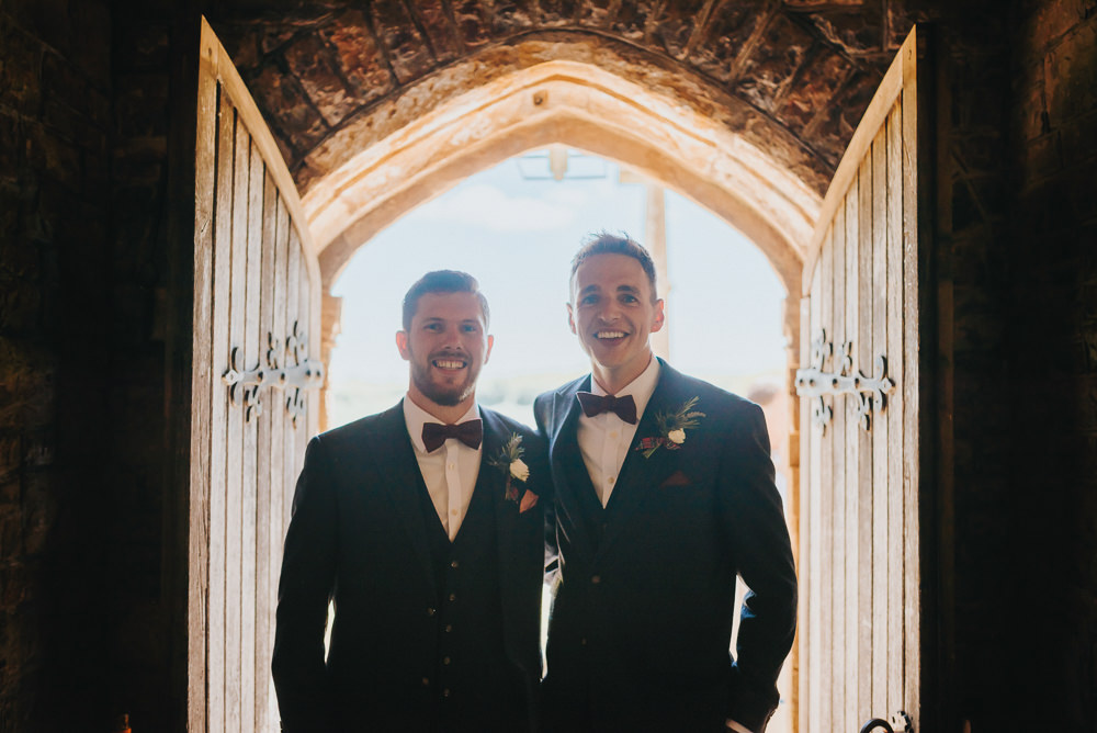 Navy Groomsmen Bow Tie Suit Kittisford Barton Wedding Joab Smith Photography